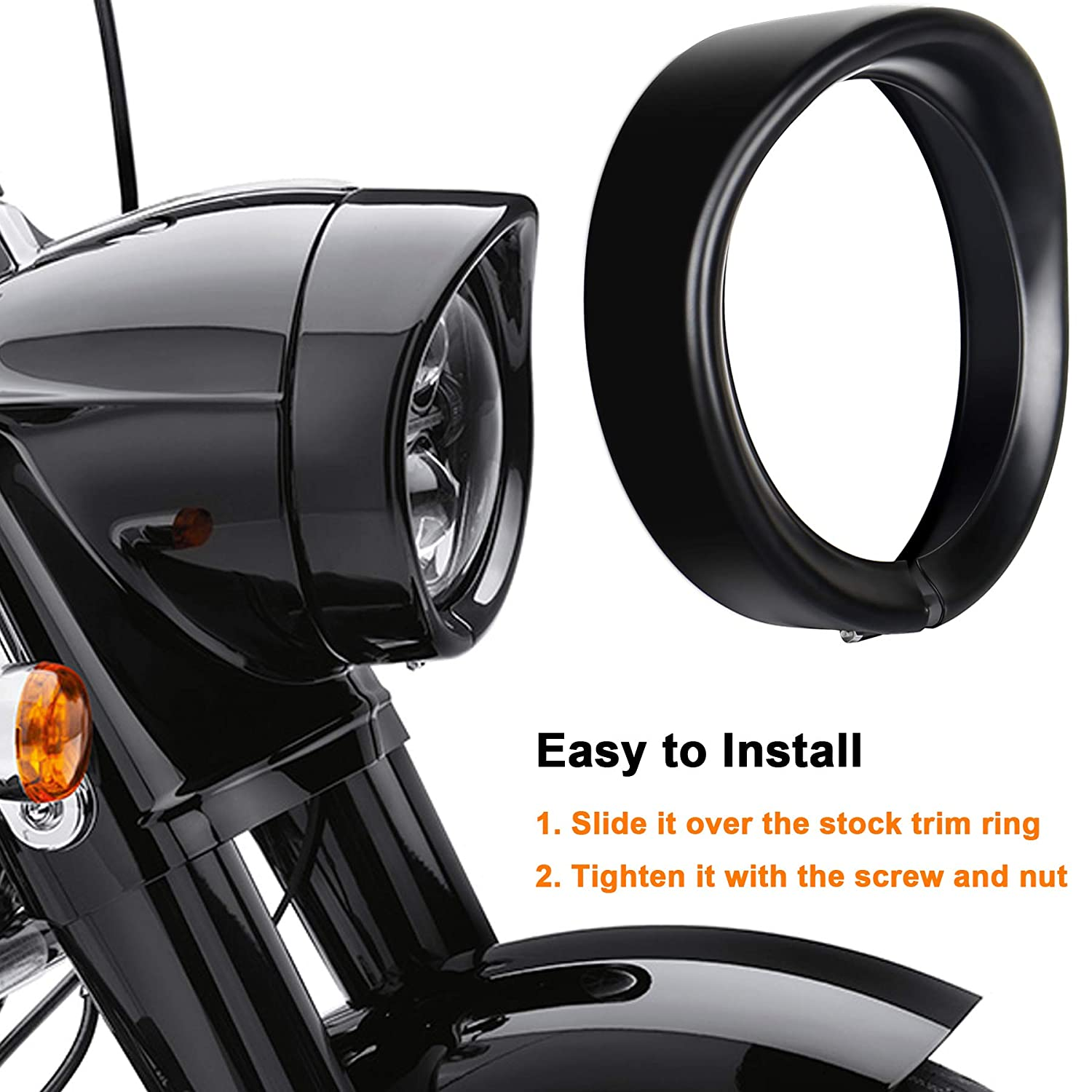 OVOTOR Harley Headlight Trim Ring 7inch Black Visor Type Motorcycle Trim Ring for Harley Softail Street Glide Road King Electra Glide