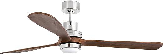 Faro Barcelona Lantau 33463 - Ventilador con luz (bombilla incluida), cuerpo de acero y palas de madera natural nogal oscuro