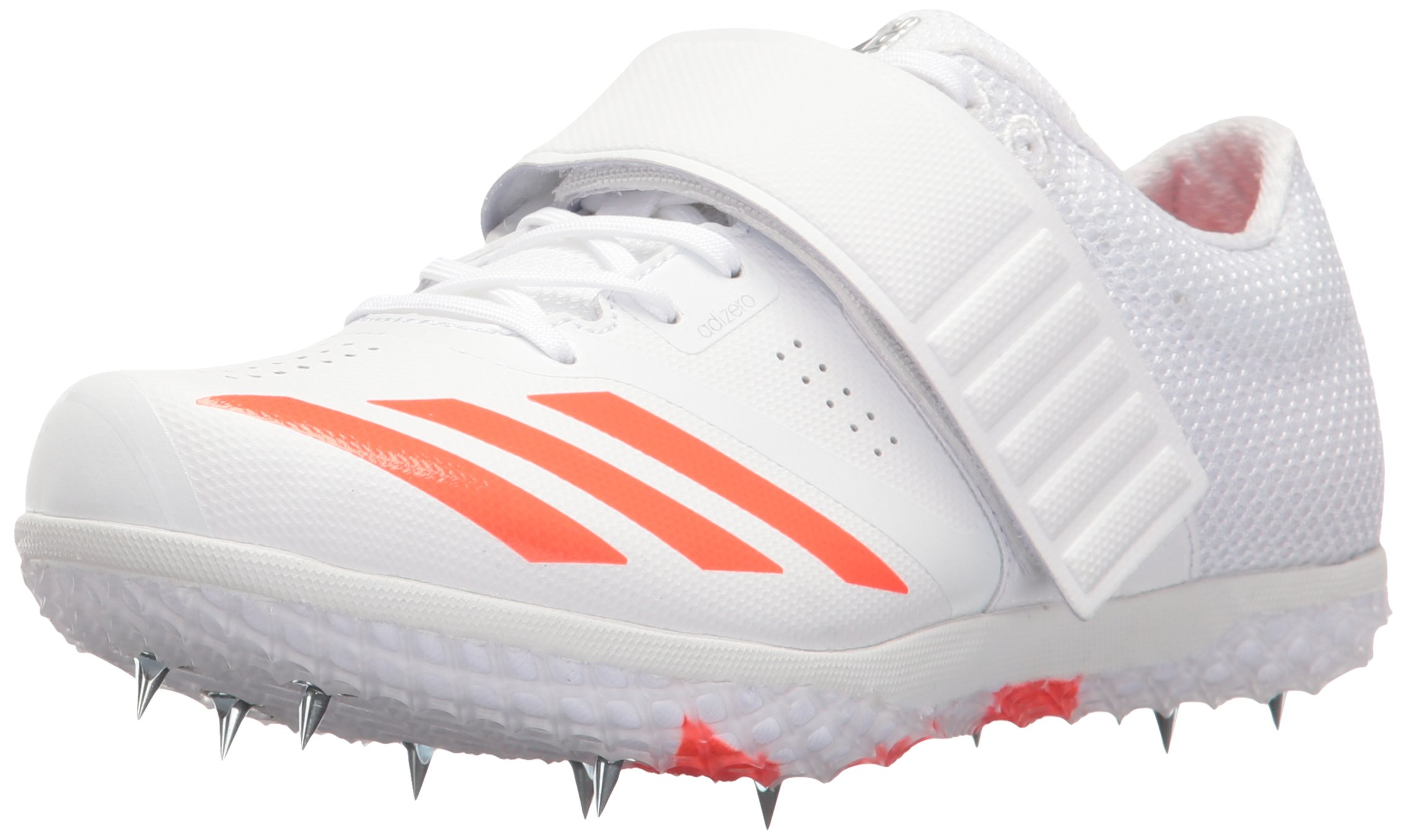adidas Adizero HJ Track Shoe, White/Infrared/Metallic/Silver, 7.5 M US