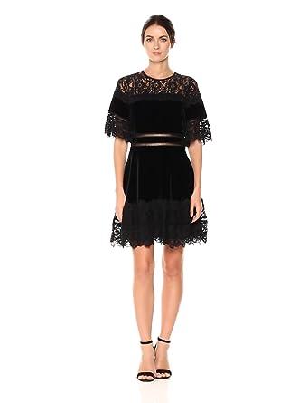 391ebff030a0 Amazon.com  Rebecca Taylor Women s Shortsleeve Velvet   Lace Dress ...