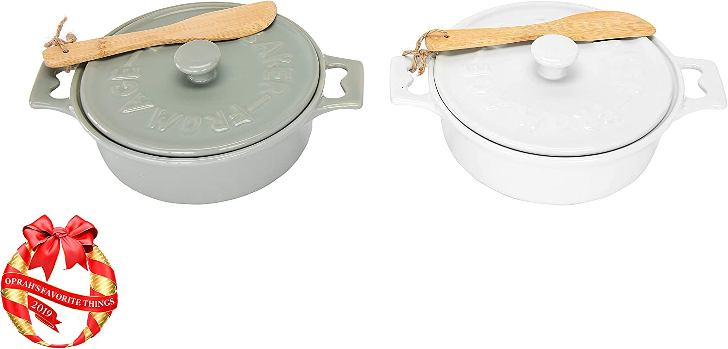 Creative Co-Op Stoneware Brie Bakers with Lids & Wood Spreaders,