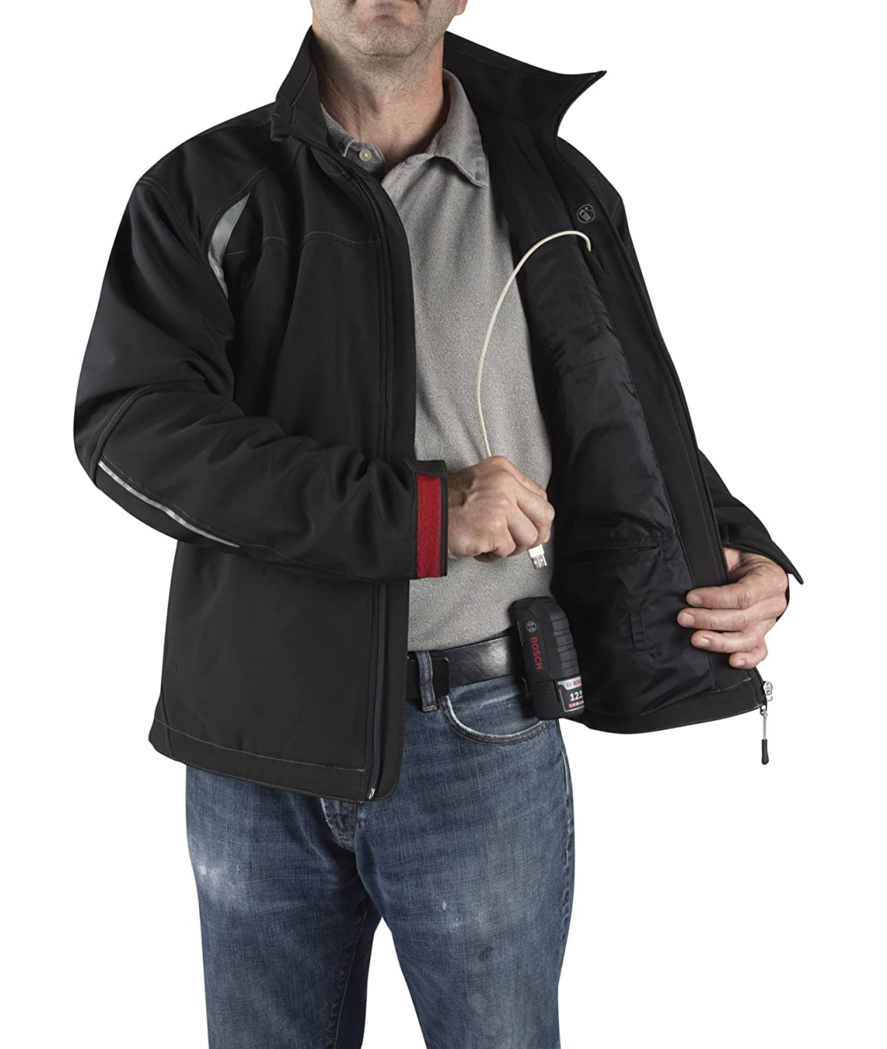 Charger and Holster PSJ120XXL-102 Bosch PSJ120-102 Mens 12-volt Max Lithium-Ion Soft Shell Heated Jacket Kit with 2.0Ah Battery