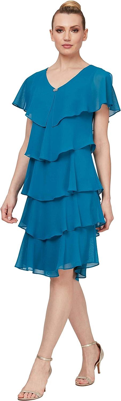 Limited time sale S.L. Fashions Women's Plus Size Short Tier 2021 Dress Pebble Sleeve