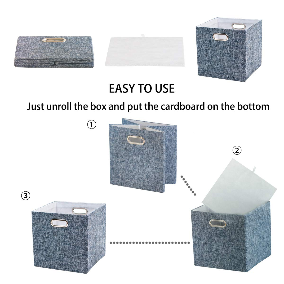 BAIST Fabric Storage Cubes,Fancy Big Collapsible Colored Linen Bed Drawer Storage Baskets Bins Organizers for playroom Books Toys-Set of 4,Gray
