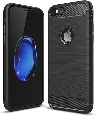 STANBOW Coque iphone 6, Coque iphone 6s, Noir Silicone Housse Etui Anti-Rayures Fibre de Carbone Coque de Protection pour iphone 6 6s
