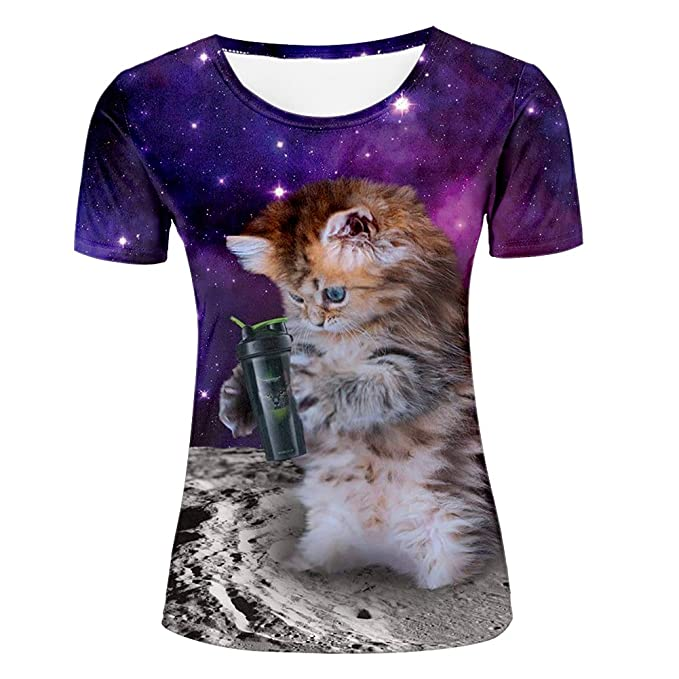 db0686e821 Fashion-Plus t-shirts 3d Printed Creweck Novelty Cat Universe Graphic Short  Sleeve Tees