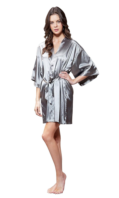 Turquaz Linen Women's Pure Color Satin Short Kimono Bridesmaids Lingerie Robes 9060