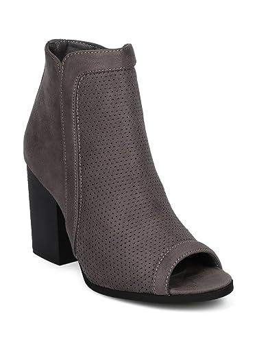 19ff35a3c65d6 Alrisco Textured Faux Suede Peep Toe Block Heel Ankle Bootie HE86 - Grey  Faux Suede (