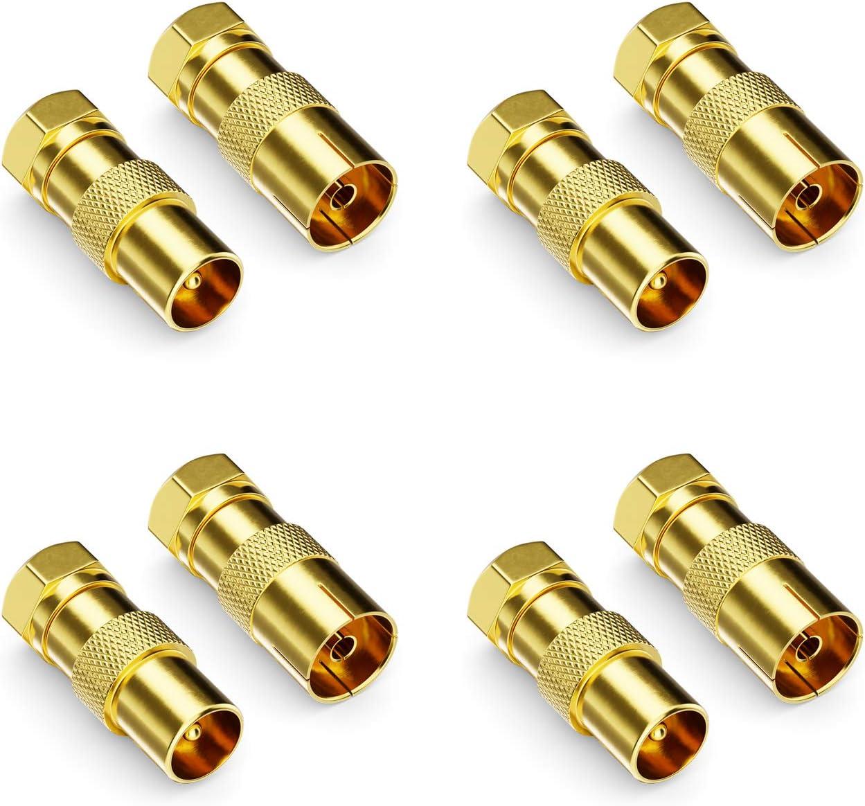 deleyCON Juego de 8 Adaptadores para Cable Satélite - Conector F a 4X Conector de Antena & 4X Toma de Antena Coaxial Antena Conector Acoplamiento para ...