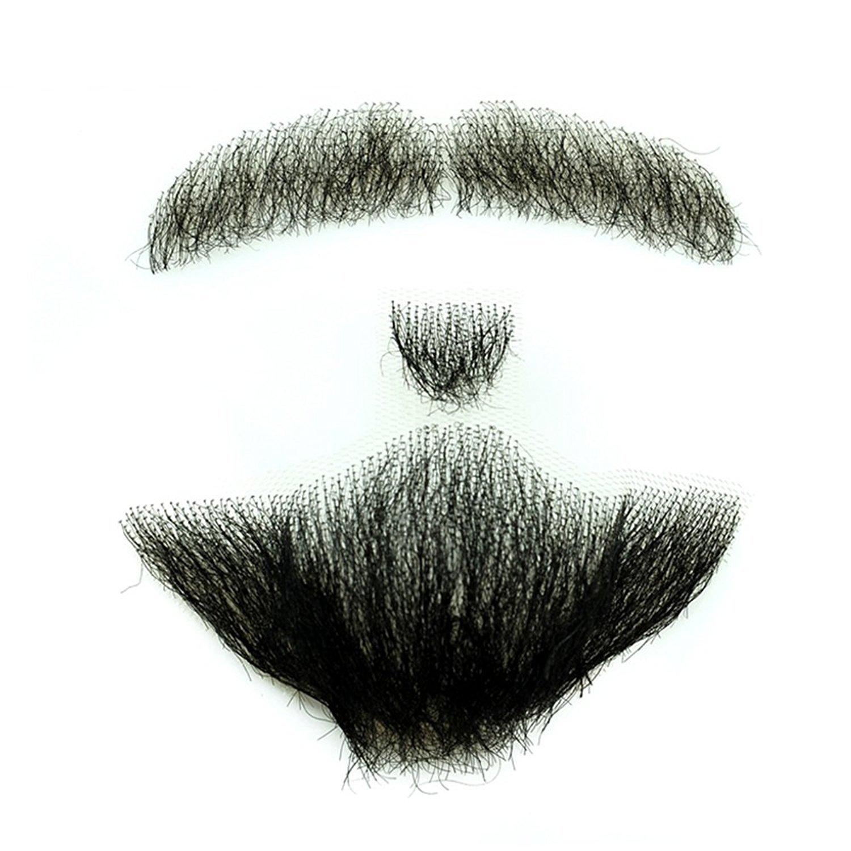 Igennki Men's Professional 100% Human Hair Hand Tied Fake Mustache Beard RM-1001