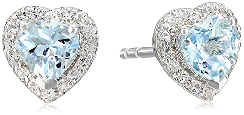 Sterling Silver Aquamarine Heart Halo Stud Earrings