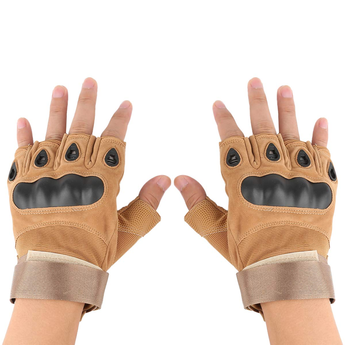 TAN Motorcycle Racing Hiking Hunting 2TRIDENTS Army Tactical Protective Half Finger Hard Knuckle Gloves for Shooting One Size Breathable Slip-Resistant Gloves