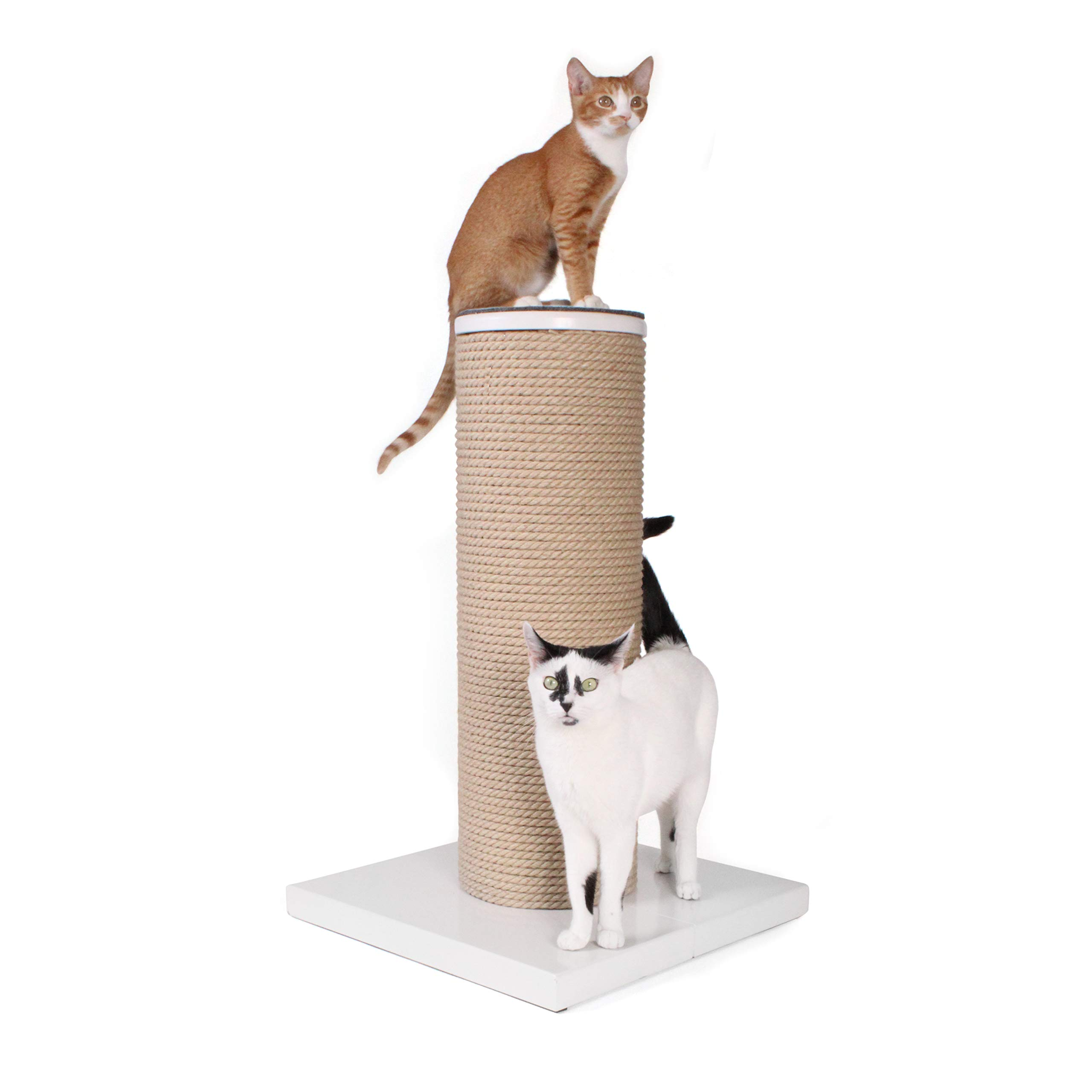 Primetime Petz Hauspanther Maxscratch - Oversized Jute Cat Scratcher & Perch, White by Primetime Petz