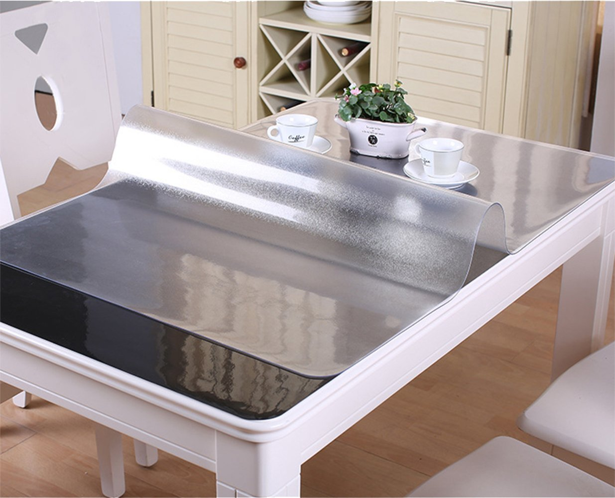 VALLEY TREE Table Cover, Clear Table Cover Protector, Soft Glass PVC Tablecloth, Table Pads, 1.5mm(0.059inch) Thickness Desk Top Pad, Transparent Plastic Tablecloth Mat for Dinning Table/Desk