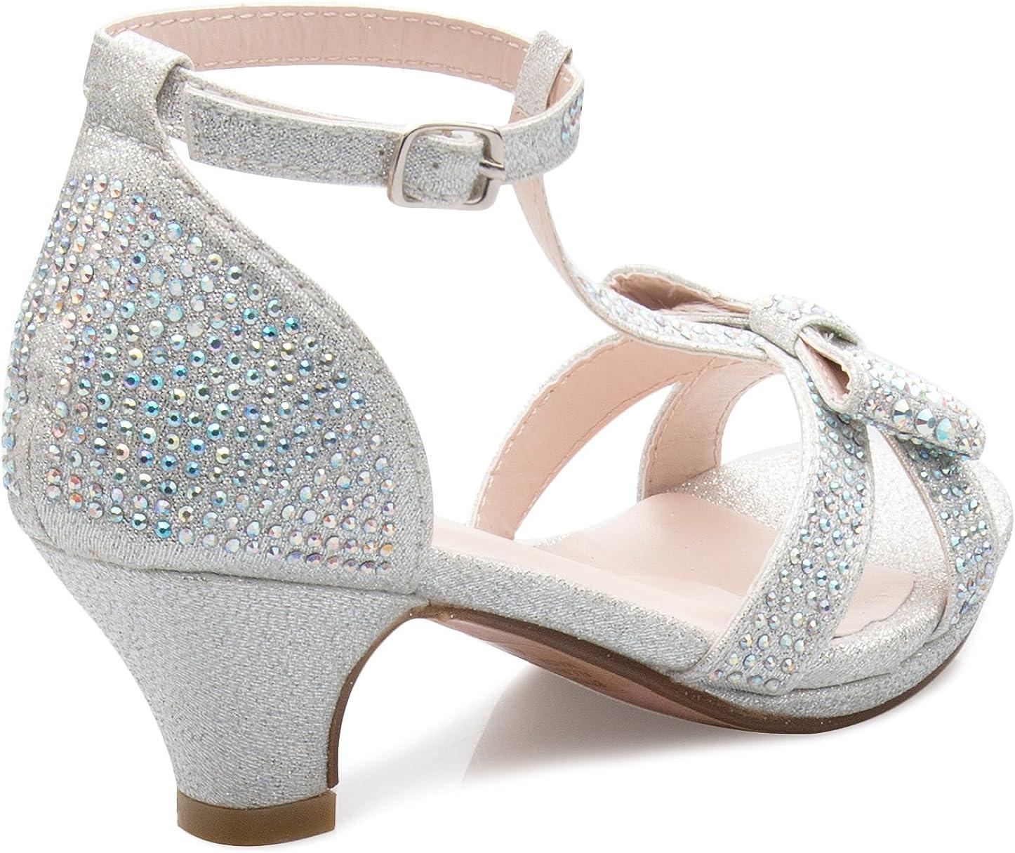 Toddler//Little Girl Olivia K Girls Glitter Leatherette Open Toe Strappy Ankle T Strap Kitten Heel Sandal