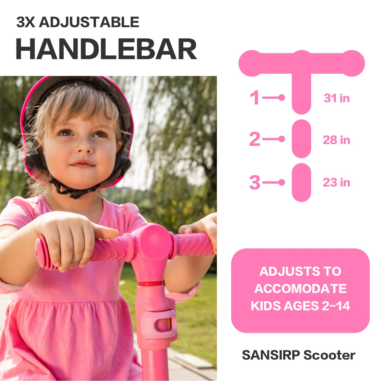 SANSIRP 2-in-1 Kick Scooter with Folding and Removable Seat Adjustable Height 3 Wheels Scooter for Toddlers Girls /& Boys Wide Deck PU Flashing Wheels for 2-12-Years-Old