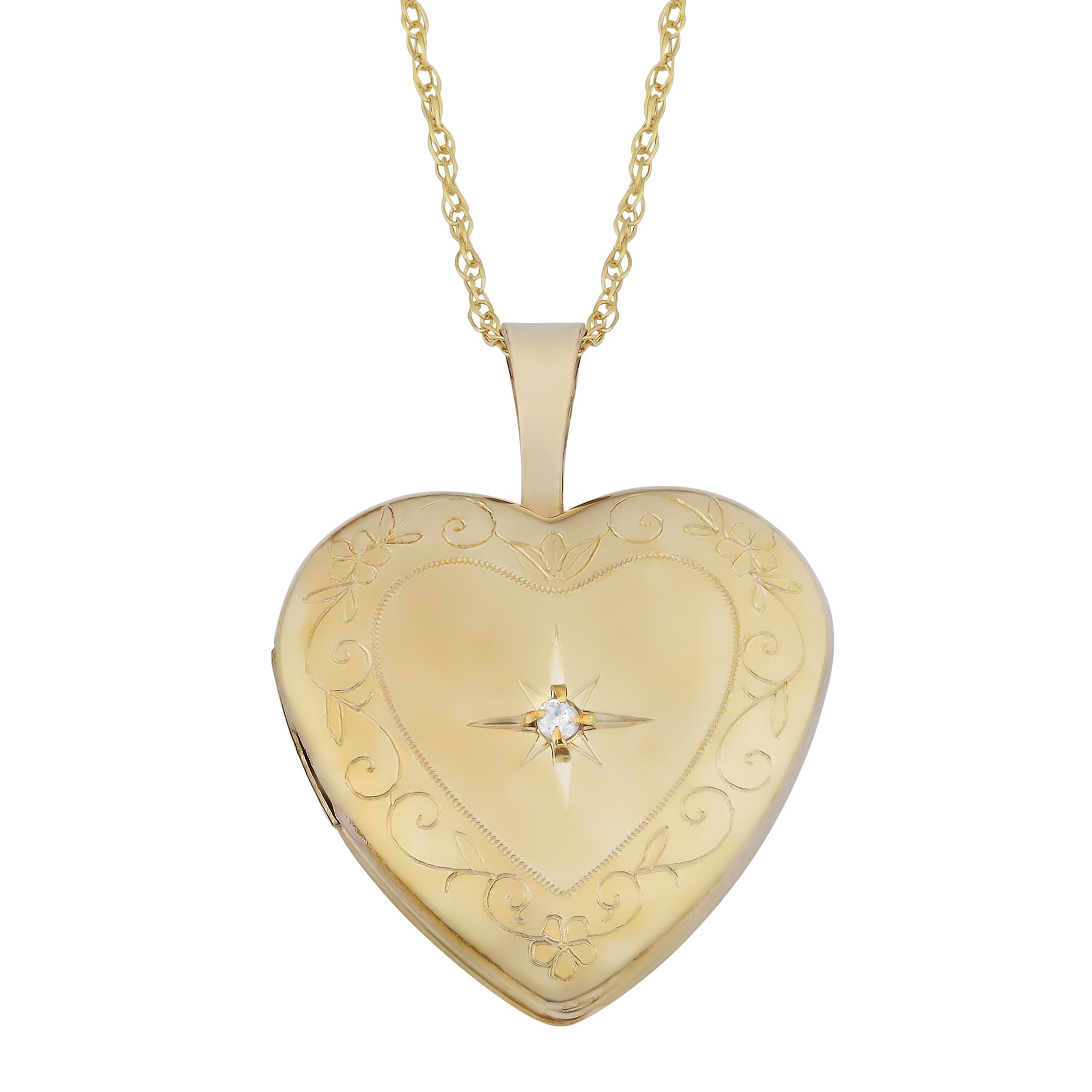 10K Yellow Gold Diamond Accent Heart Locket On Rope Chain Necklace (18 inch)
