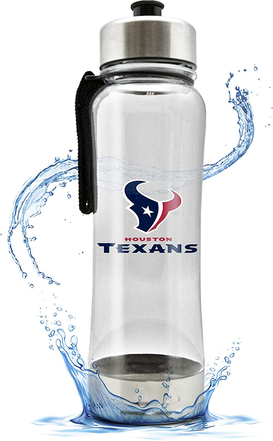 NFL Clip-On Clear Plastic Water Bottle