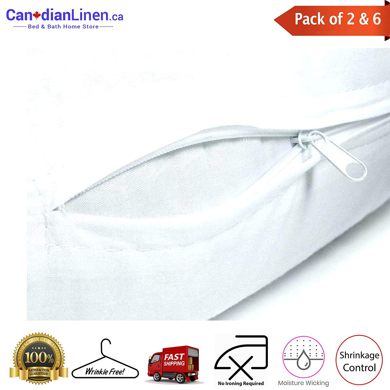 Canadian Linen White Hotel Standard Size T180 Pillow Case Zippered Protector Wrinkle Free 20x26 2