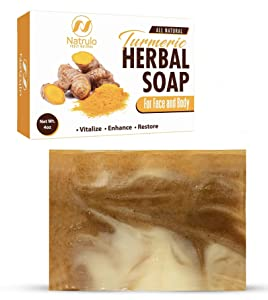 Turmeric Soap Bar for Face & Body - All Natural Turmeric Skin Lightening Soap - Turmeric Face Soap Reduces Acne, Fades Scars & Brightens Skin - 4 Oz Turmeric Bar Soap for All Skin Types Made in USA