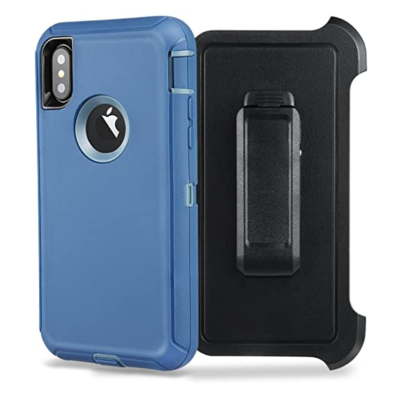 sneakers for cheap ce178 46054 iPhone X Case, [Shockproof] [Drop Protection] [Heavy Duty] Tough Rugged  Hybrid Hard Shell Cover Case with Belt-Clip for Apple iPhone X [5.8  inch]-Blue