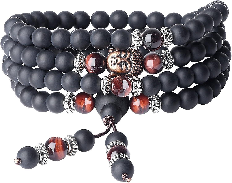 COAI® Pulsera Collar de 108 Cuentas Mala Piedra Natural Ónice Mate y Ojo de Tigre Rojo Budista 6mm