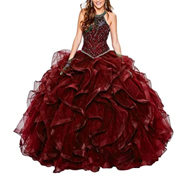 8d89ac125a Jurong Women s Halter Tulle Lace Ruffles Quinceanera Dresses Ball Gowns  Sweet 16 Dresses Burgundy