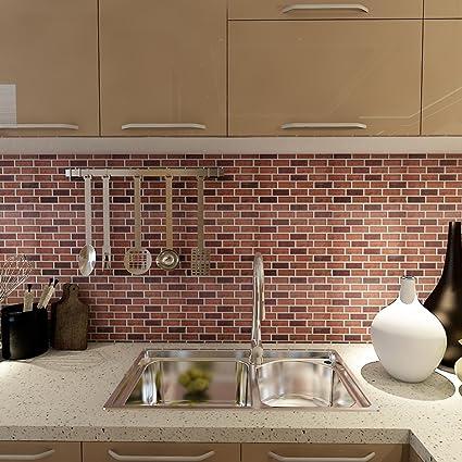 Art3d 6-Pack Kitchen Backsplashes Stiker Peel and Stick Vinyl Wall  Covering, Subway Stock Brick