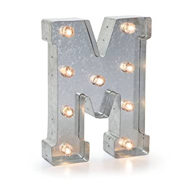 Darice 5915-714 Silver Metal Marquee Letter 9.875 -M