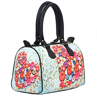 cad153b0f633 Bangprice Canvas digital printed multipurpose designer Button Hearts stylish  duffle handbag for Girls Women