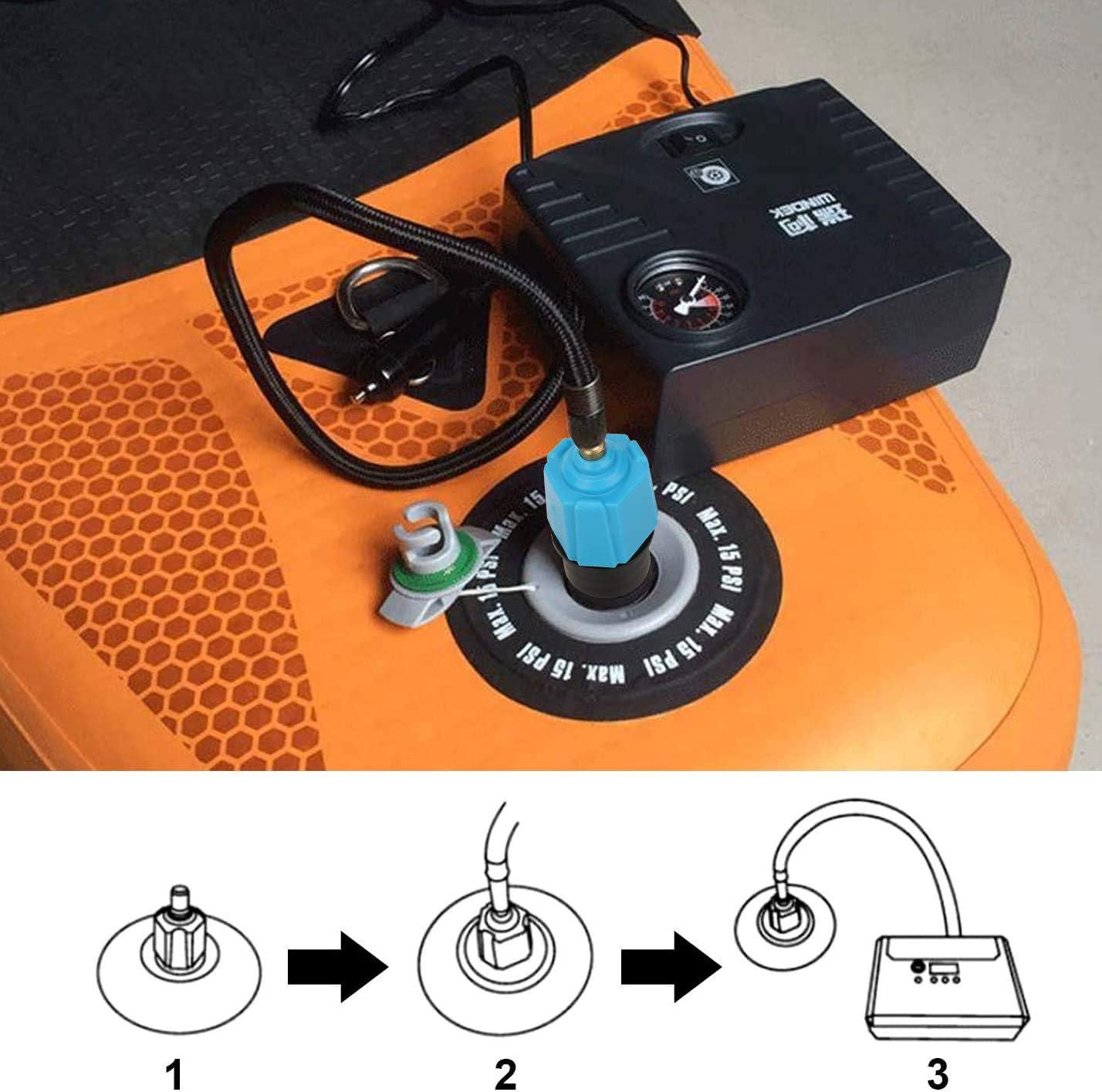 QKURT Adaptador de Bomba de Sup Inflable Convertidor de Bomba de Aire Adaptador de v/álvula de Sup multifunci/ón con 4 boquillas de v/álvula de Aire para Bote Inflable etc. Tabla de Paddle de pie