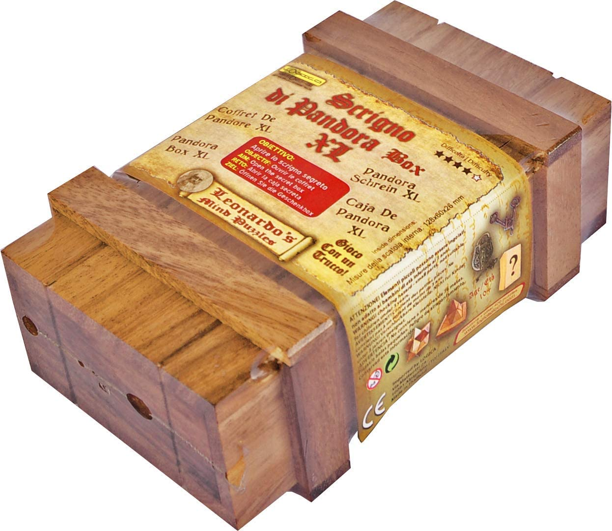 LOGICA GIOCHI Art. Caja de Pandora XL - Caja Secreta - Dificultad Difícil 3/6 - Rompecabezas De Madera Preciosa - Colección Leonardo da Vinci: Amazon.es: Juguetes y juegos