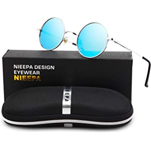 dae5d6fd0f384 NIEEPA John Lennon Vintage Round Polarized Hippie Sunglasses Small Circle  Sun Glasses