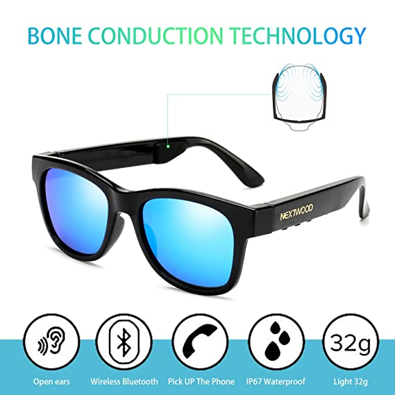 035f53cbc42e Bluetooth Wireless Stealth Headset Glasses Sunglasses Bone Conduction  Waterproof Intelligent Songs Artifact 6 Color Microphone Phone