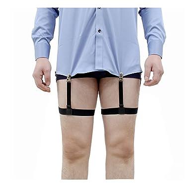 fb53b408fc7124 Jelinda Hemdhalter Shirt Stays Herren Hemd Aufenthalte Bein Schenkel  elastisch Strumpfband Sport Straps Gürtel mit Rutschfest Sperrung Schellen