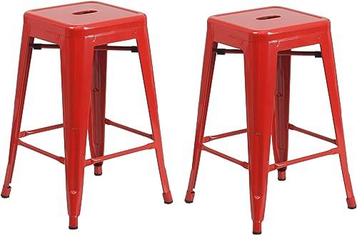 Vogue Furniture Direct Barstool 24 backless metal Stools RED Set of 2 -VF1571002
