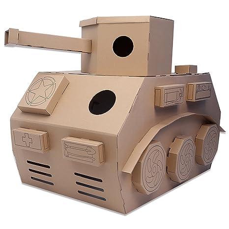 Amazon.com: DIY Toy Tank Indoor Paper Houses Cardboard Playhouse ...