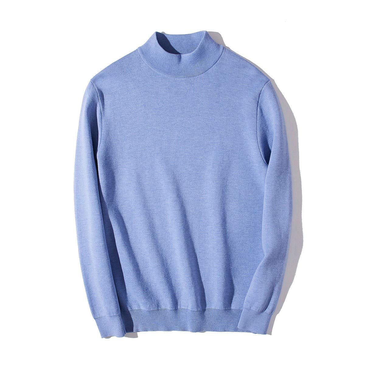 YUNY Men Turtleneck Pullover Oversize Colortone Pullover Sweater Wine Red XS