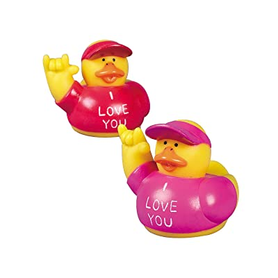 "Fun Express - ""i Love You Rubber Ducks for Valentine's Day - Toys - Character Toys - Rubber Duckies - Valentine's Day - 12 Pieces: Toys & Games"