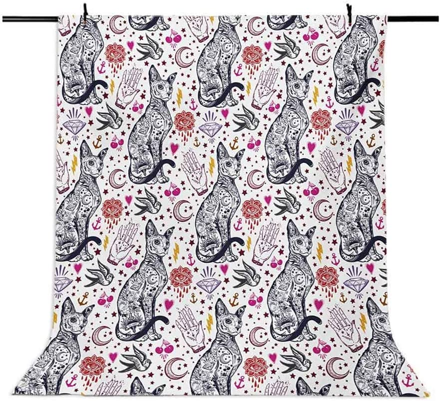 Traditional Tattoo Gothic Magic Icons Witchcraft Symbols Kitty Hands Background for Kid Baby Boy Girl Artistic Portrait Photo Shoot Studio Props Video Drape Vinyl 10x15 FT Photography Backdrop