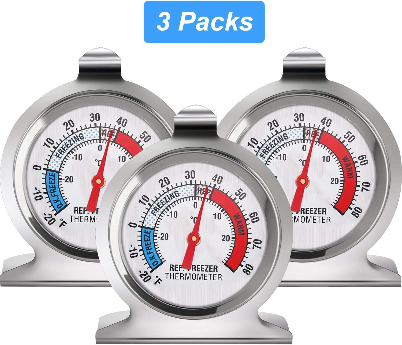 Refrigerator Freezer Thermometer Classic Series Large Dial Thermometer Temperature Thermometer for Refrigerator Freezer Fridge Cooler (3)