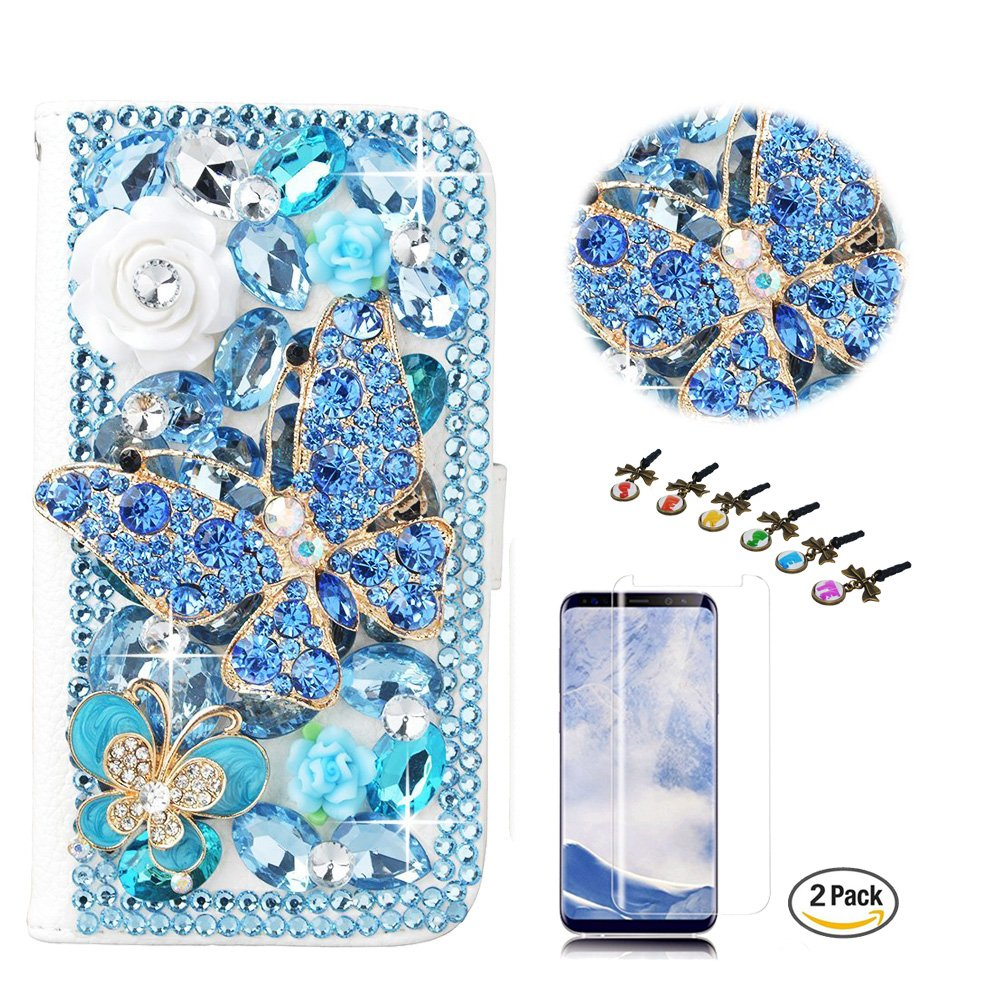 STENES Galaxy S8 Active Case - STYLISH - 3D Handmade Crystal Butterfly Flowers Design Wallet Credit Card Slots Fold Media Stand Leather Cover for Samsung Galaxy S8 Active with Screen Protector - Blue