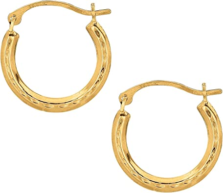 14K White Gold Diamond Cut Small Design Hoop Earrings with Hinged by IcedTime