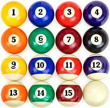 Full Set of 16 Pool Table Billiard Balls