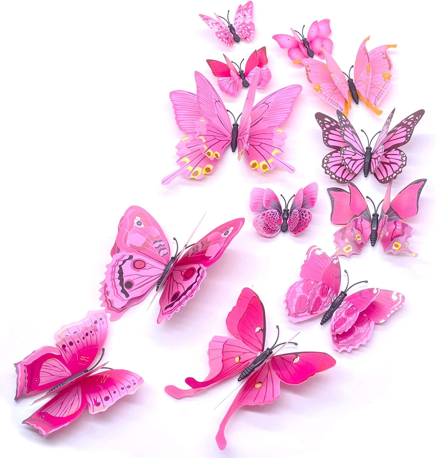 24PCS Butterfly Wall Decals,3D Butterflies Wall Stickers Removable Mural Wall Stickers Art Decor for Home,Kids Girls Room Decor Party Supplies Decorations (Pink)