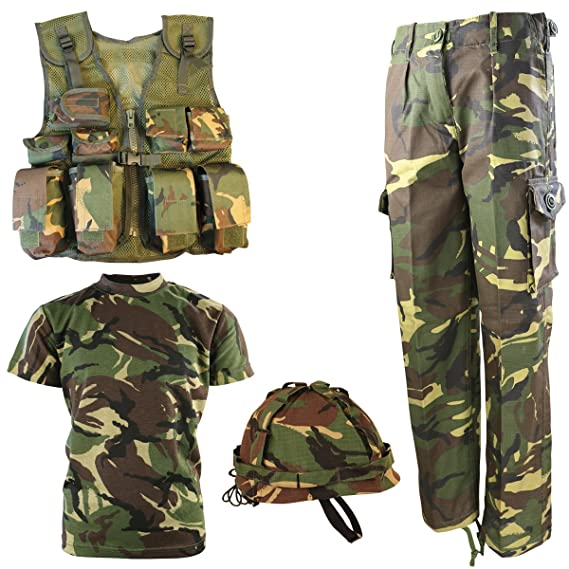 WORLD BOOK DAY BOYS ARMY COSTUME TROUSERS T-SHIRT COAT CAP PAINT TAGS BTP CAMO