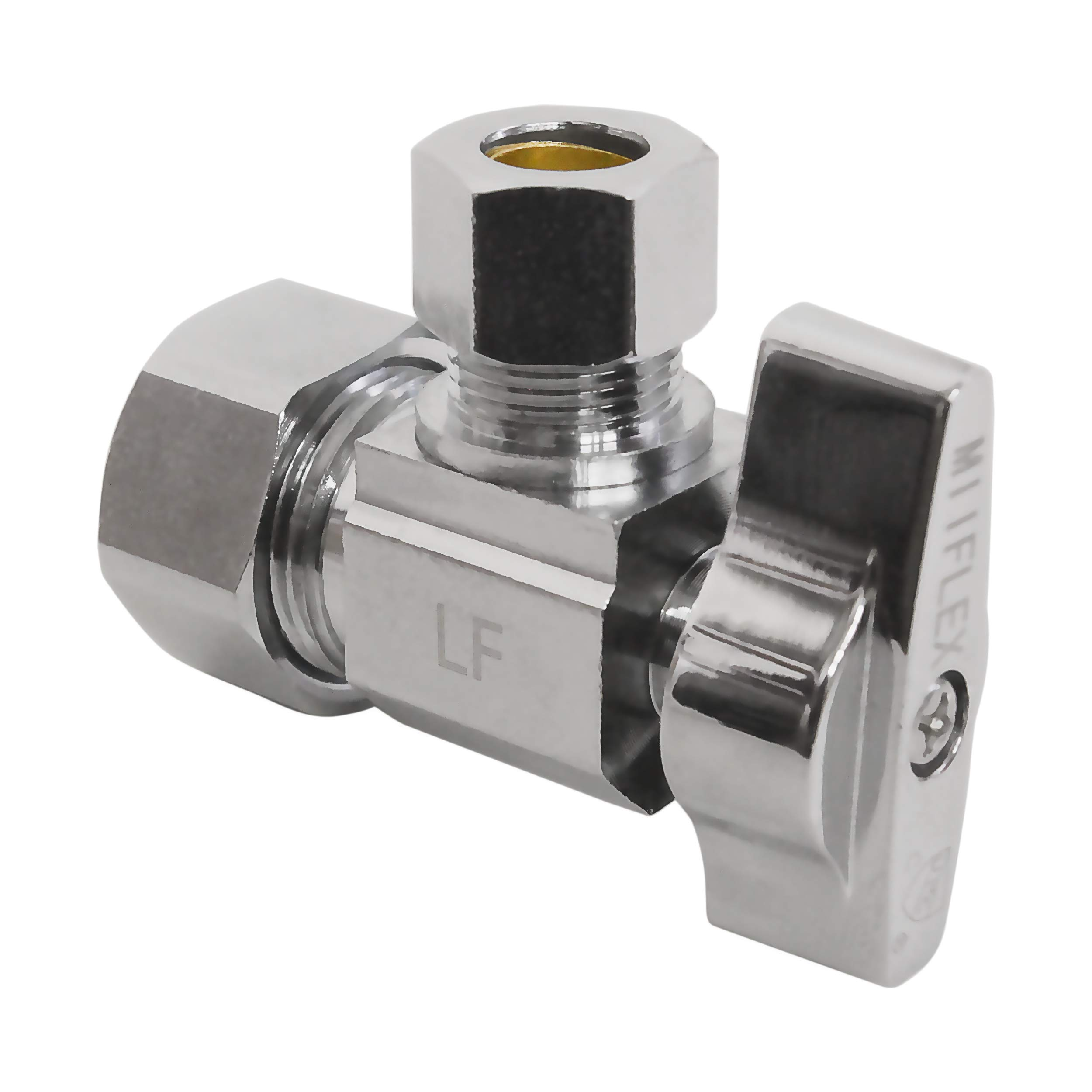 Heavy Duty Squared Body 1/2 in. NOM Comp Inlet x 3/8 in. OD Compression Outlet Chrome Plated Brass 1/4 Turn Angle Stop Valve (5 Pack) by Miiflex (Image #2)