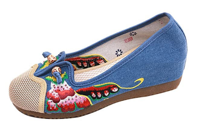 SK Studio Zapatillas Mocasín de Lona para Mujer en Estilo Chino YR31: Amazon.es: Zapatos y complementos