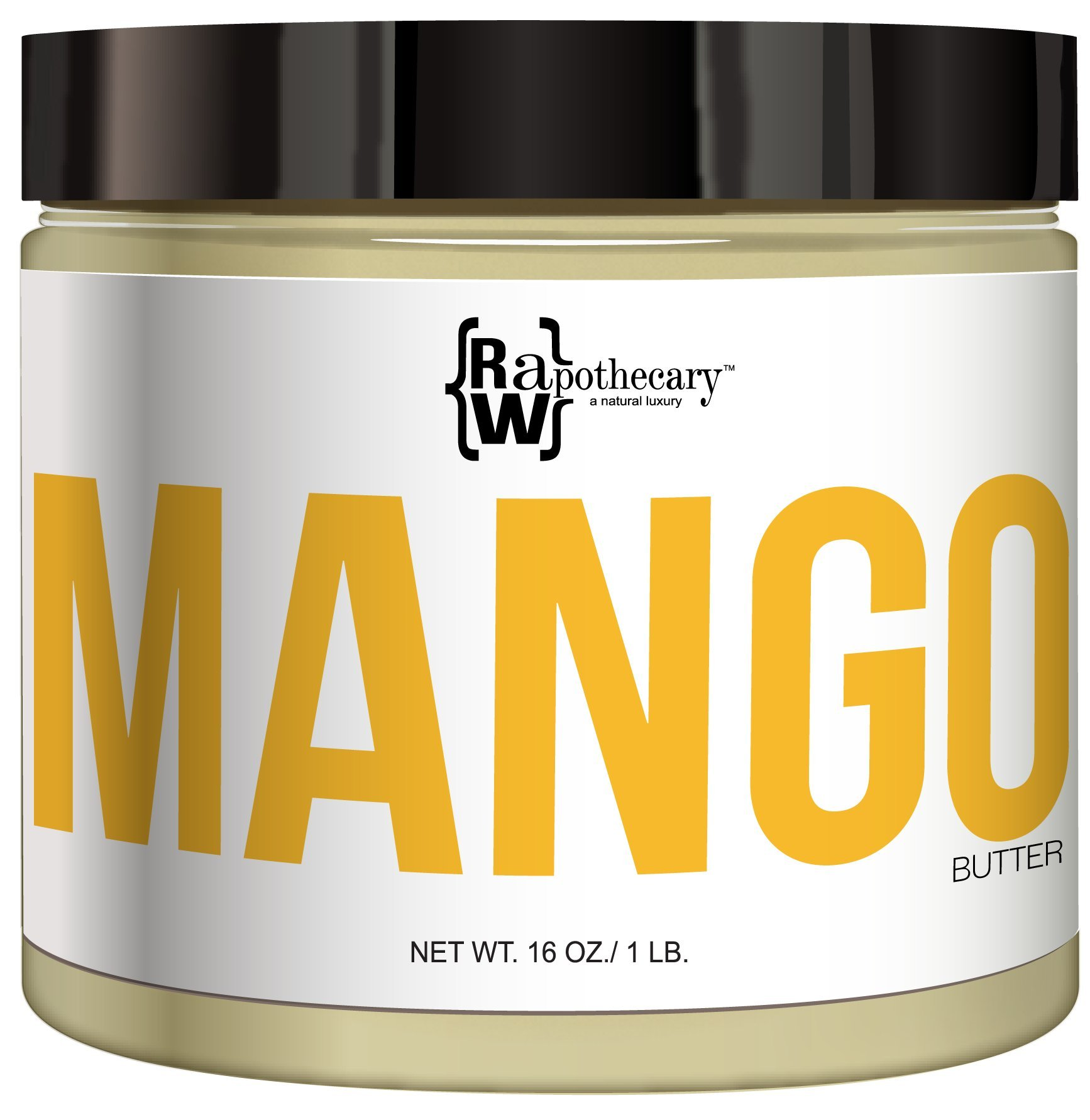 Raw, Unrefined Mango Butter, 16oz, 1 lb   100 Percent Pure and Organic with Zero Additives, Cruelty Free   For Skin, Hair & DIY