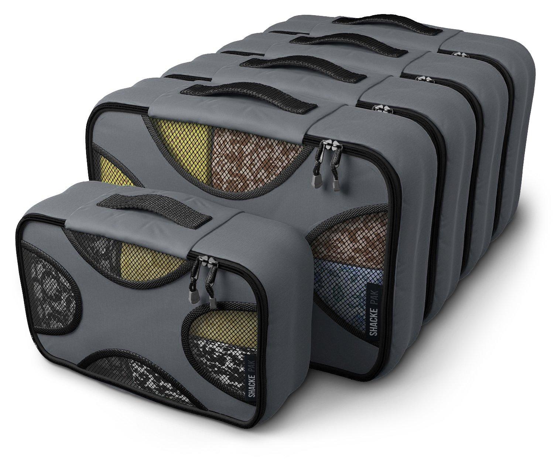 Shacke Pak - 5 Set Packing Cubes - Medium/Small - Luggage Packing Travel Organizers (Dark Grey) by Shacke